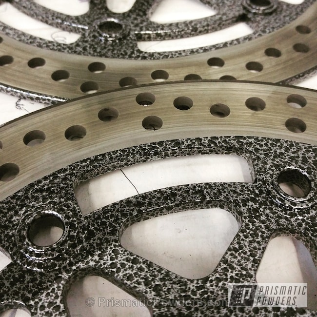 Powder Coating: Motorcycles,Powder Coated Motorcycle Rotors,Silver Artery PVS-3014