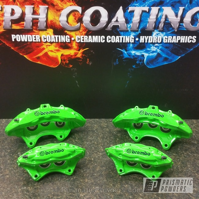 Powder Coating: Automotive,Clear Vision PPS-2974,Energy Green PSB-6669,Powder Coated Z11 Brembo Brake Calipers