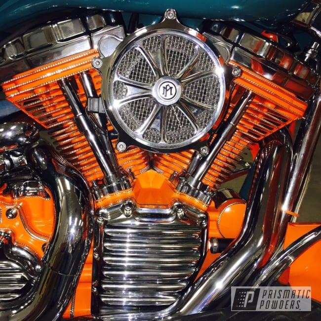 Powder Coating: Just Orange PSS-4045,Motorcycles,Powder Coated Diamond Cut Harley