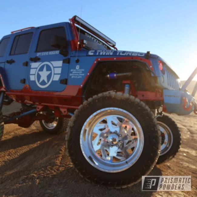 Powder Coating: Royal Gold PMB-5742,Off-Road,Illusion Lite Blue PMS-4621,Powder Coated Captain America Jeep,Lollypop Red UPS-1506