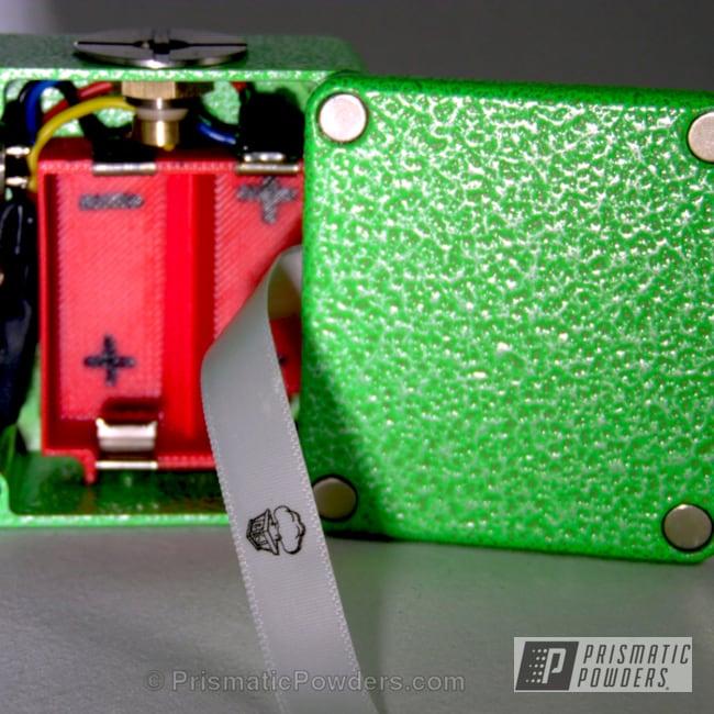 Box Mod Coated In A Green Glow/silver Powder Coat