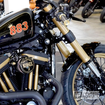 Custom Hd 883 Motorcycle With Prismatic Gold Accents