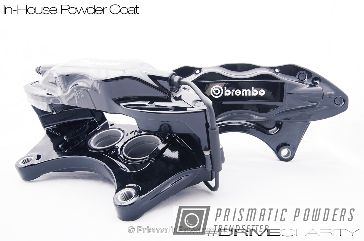 Powder Coating: Powder Coated Brembo Brake Calipers,Automotive,Clear Vision PPS-2974,GLOSS BLACK USS-2603
