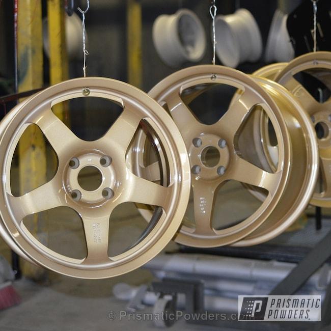 Powder Coating: Wheels,Powder Coated Wheels,Satin Poly Gold PMB-6487