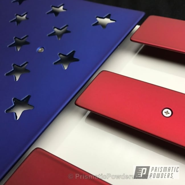 Powder Coating: Custom Artwork,TWISTED WIZARD RED UPB-5514,SUPER CHROME USS-4482,chrome,Independence Day,Chrome Base Coat,Custom 2 Coats,Intense Blue PPB-4474,Multi Powder Application,American Flag Theme,Miscellaneous,Clear Top Coats