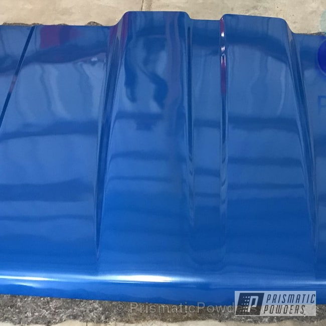 Powder Coating: Automotive,Clear Vision PPS-2974,Two Stage Application,Custom Hood,Clear Top Coat,84 Chevy
