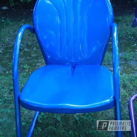 Powder Coating: Multi-Powder Application,Vintage Chairs,Multi Color,Galaxy Wave PMB-2497,Yamaha Yellow PMB-5654,Peeka Blue PPS-4351,Furniture