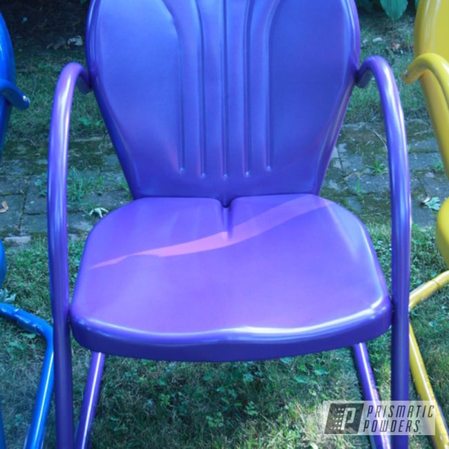 Powder Coating: Multi-Powder Application,Vintage Chairs,Multi Color,Galaxy Wave PMB-2497,Yamaha Yellow PMB-5654,Peeka Blue PPS-4351,Furniture