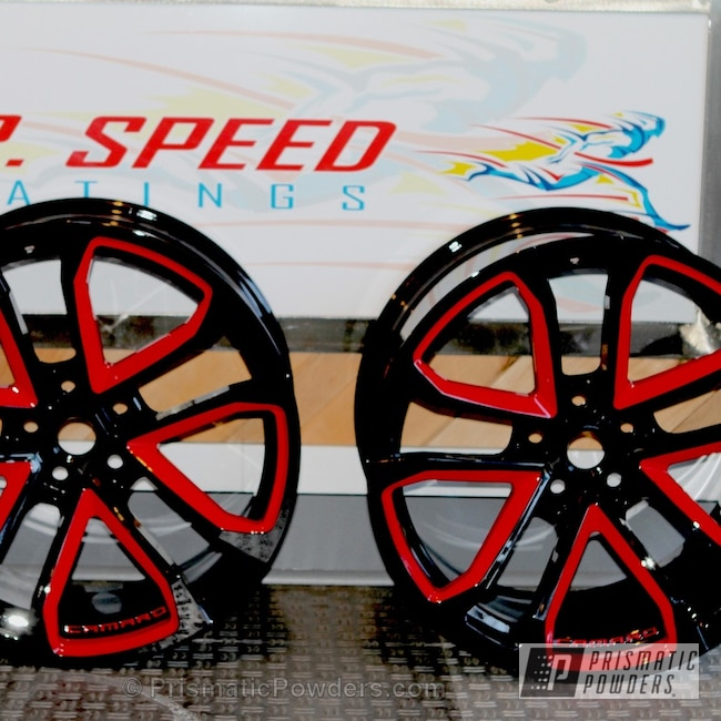 Powder Coating: Passion Red PSS-4783,Wheels,Clear Vision PPS-2974,Ink Black PSS-0106,Powder Coated Wheels,Custom 2 Coats