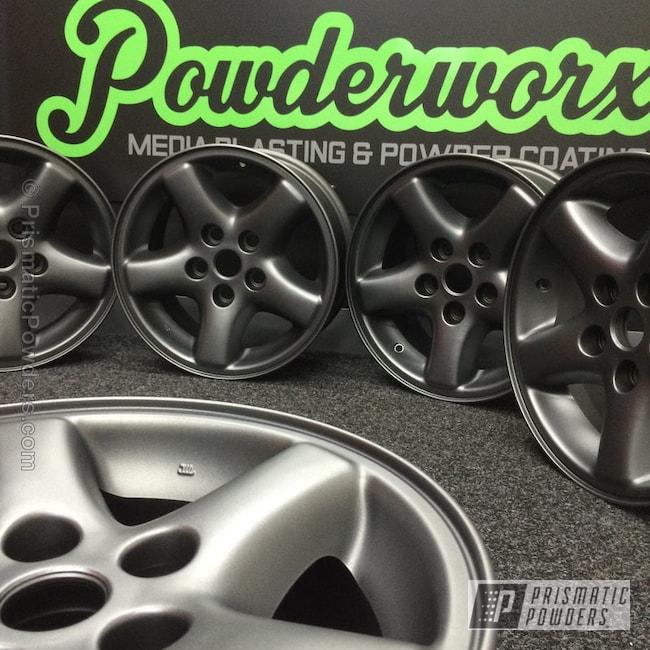 "Powder Coating: Wheels,Speedway Grey PMB-4911,Casper Clear PPS-4005,Powder Coated Jeep Wrangler 15"" Alloy Wheels"