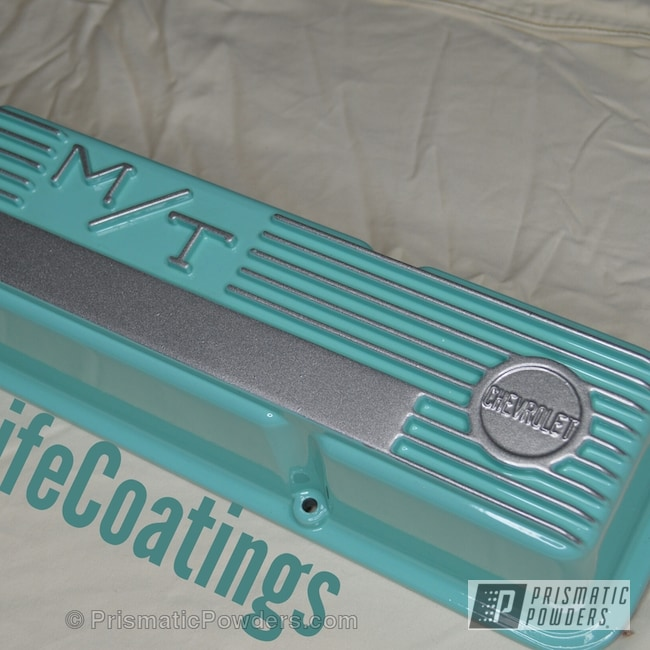 Powder Coating: Automotive,Clear Vision PPS-2974,Sea Foam Green PSS-4063,Three Powder Application,Custom Automotive Parts,Clear Top Coat,Alien Silver PMS-2569,Chevrolet Valve Cover,Valve Cover,Mickey Thompson Valve Covers