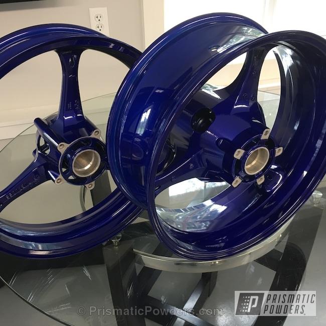 Powder Coating: Wheels,Clear Vision PPS-2974,Custom Motorcycle Wheels,Clear Top Coat,Motorcycles,Illusion Royal PMS-6925