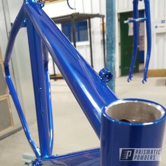 Powder Coating: Bicycles,SUPER CHROME USS-4482,chrome,Powder Coated Bike Frame,Whiffle Blue PPB-5774