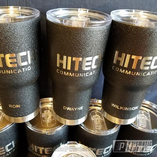 Powder Coating: Single Powder Application,Splatter Black PWS-4344,Custom Cups,Personalized,Textured,Miscellaneous