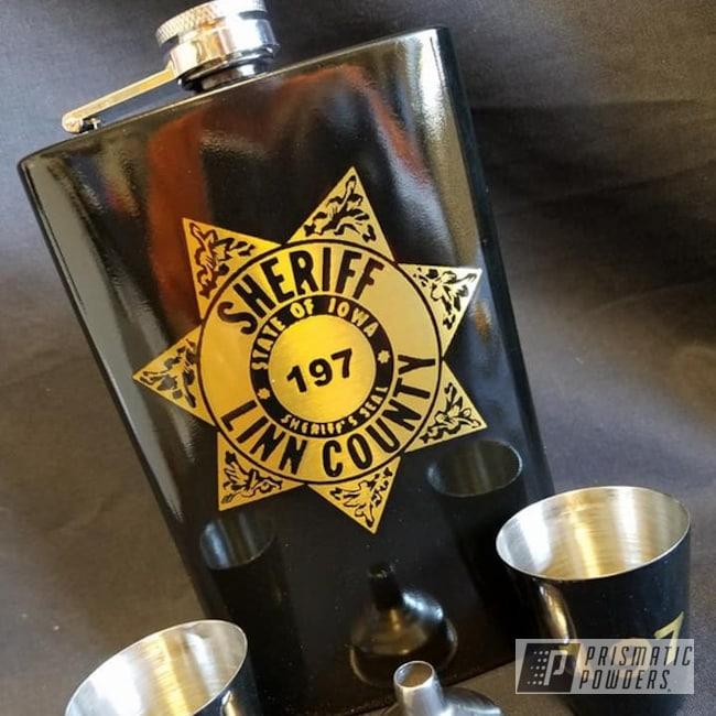 Powder Coating: BLACK JACK USS-1522,Flask Set,Custom 2 Coats,Retirement Gift,Miscellaneous