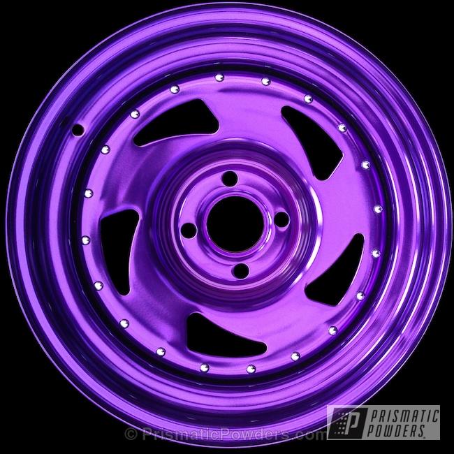 Powder Coating: Single Powder Application,Wheels,Automotive,Powder over Chrome Plate,chrome,ANODIZED SUGAR GRAPE UPB-1542,Purple BDE Wheels