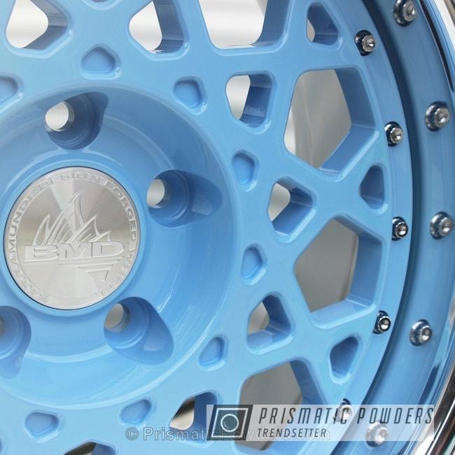 Powder Coating: Wheels,Clear Vision PPS-2974,Troll Blue PSS-2657,Powder Coated Barramundi Design Wheels