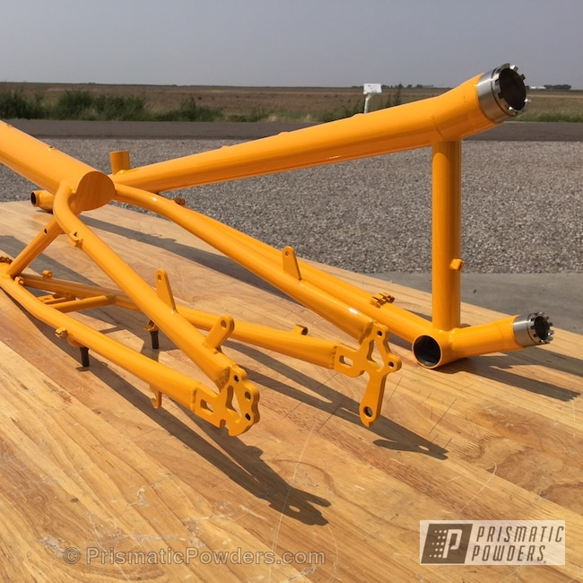 Powder Coating: Bicycles,Clear Vision PPS-2974,RAL 1028 RAL-1028,KING MIDAS UPB-3033,Powder Coated Rans Bike Frame