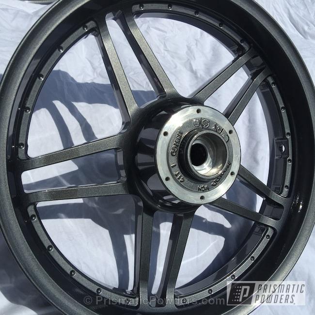 Powder Coating: Wheels,Powder Coated Motorcycle Wheel,Clear Vision PPS-2974,Motorcycles,Crystal Grey PMB-5913