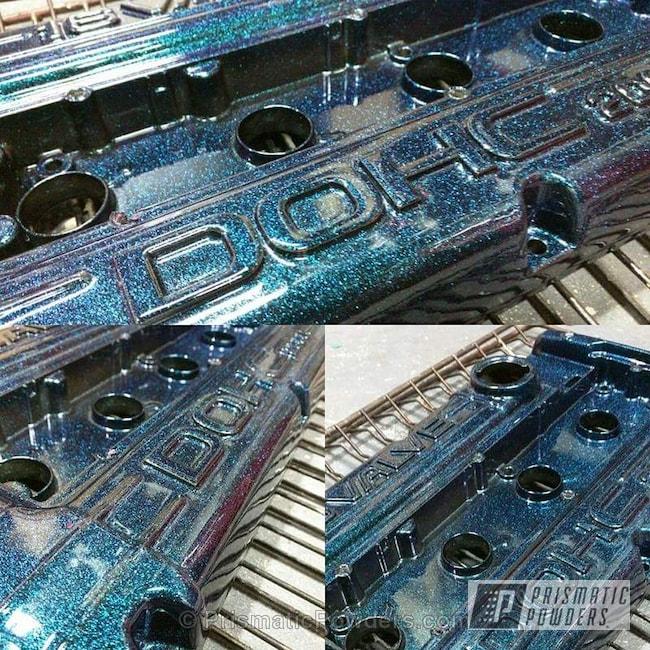 Powder Coating: Automotive,GLOSS BLACK USS-2603,Chameleon Teal PPB-5733,Powder Coated Valve Cover,Valve Cover