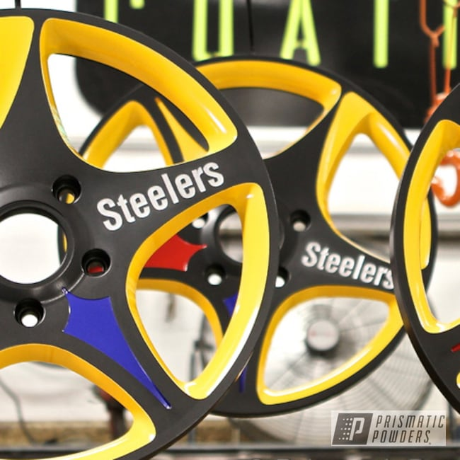 Powder Coating: Passion Red PSS-4783,Wheels,Powder Coated Wheels,Bad Boy Yellow PSB-1960,RAL 5002 RAL-5002