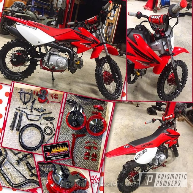 Powder Coating: GLOSS BLACK USS-2603,Honda,Motorcycles,Soft Red Candy PPS-2888,Custom Dirt Bike