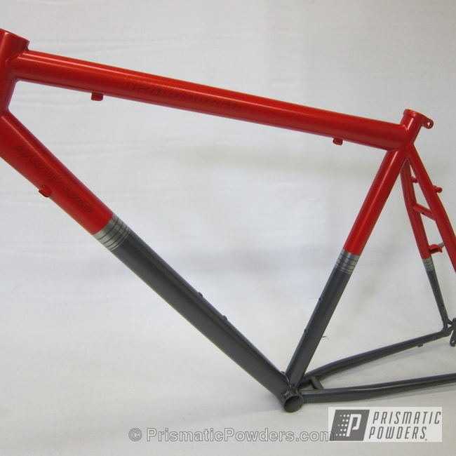 Powder Coating: Bicycles,Soft Clear PPS-1334,Fire Orange PMB-6463,Cool Charcoal PMS-2555