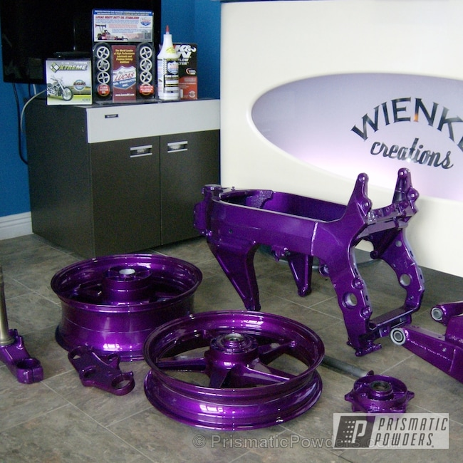Powder Coating: Clear Vision PPS-2974,East Side Pearl Red PMB-5903,Powder Coated Motorcycle Wheels,Motorcycles,Illusion Violet PSS-4514