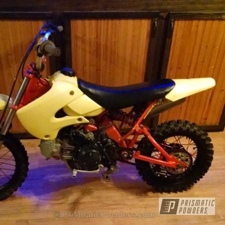 Powder Coating: ORANGE WHIP PMB-5824,Clear Vision PPS-2974,Powder Coated Suzuki DRZ110 Dirt Bike,Motorcycles