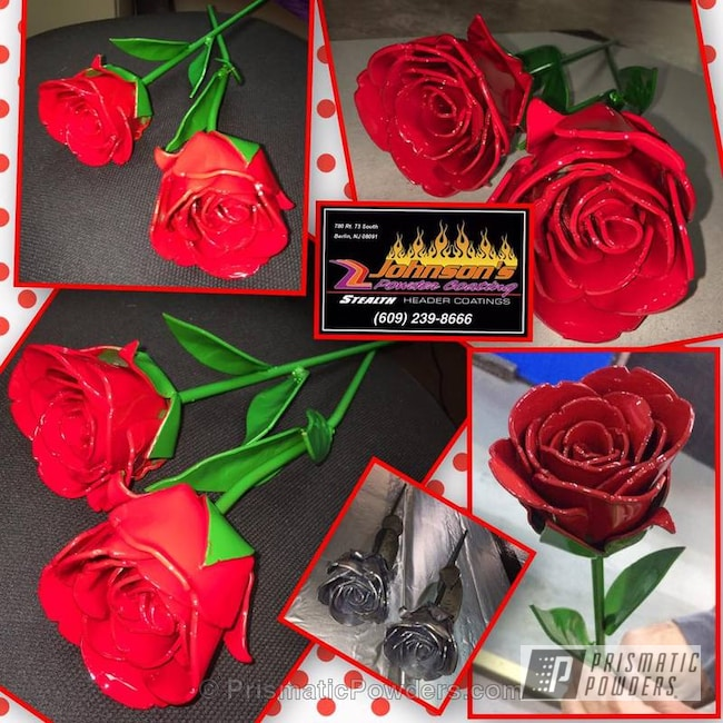 Powder Coating: Multi-Powder Application,Metal Roses,Art,Two Tone,Astatic Red PSS-1738,Hot Yellow PSS-1623,Farm Green PSS-5463,Miscellaneous