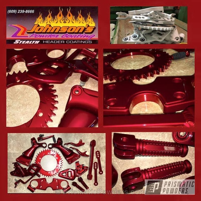 Powder Coating: Suzuki Hayabusa,Custom Motorcycle,Empire Blue PPB-4585,Motorcycles,NY Giants Theme,Soft Red Candy PPS-2888