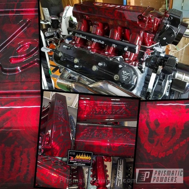 Powder Coating: Single Powder Application,Automotive,Powder and Hydrographics,Soft Red Candy PPS-2888,Bio Mechanical over Powder,Edelbrock Highrise Intake