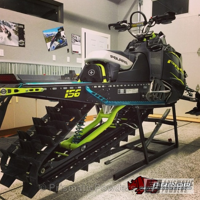 Powder Coating: AQUA CLEAR UPS-1680,Off-Road,Heavy Steel PMS-1366,Neon Yellow PSS-1104,Powder Coated Snowmobile