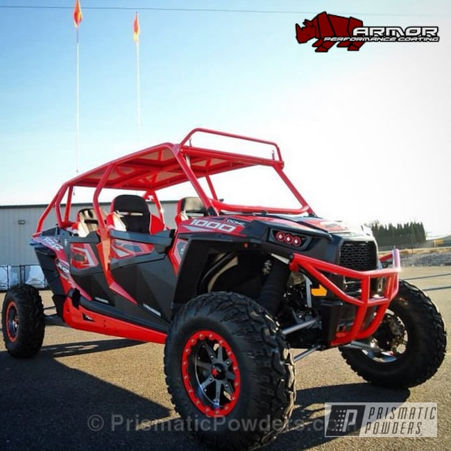 Powder Coating: Passion Red PSS-4783,Off-Road,Cosmic Light PPB-4323,Polaris RZR Bumpers