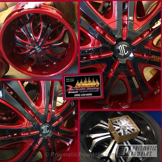 Powder Coating: Wheels,Automotive,Custom Wheels,GLOSS BLACK USS-2603,Two Tone,Soft Red Candy PPS-2888,3-stage