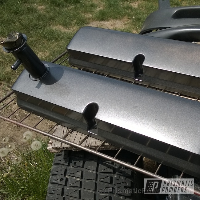 Powder Coating: Automotive,Powder Coated Mustang GT40 Valve covers,Crystal Grey PMB-5913,Valve Cover