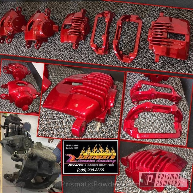 Powder Coating: Single Powder Application,Automotive,Calipers,Soft Red Candy PPS-2888,Custom Brakes