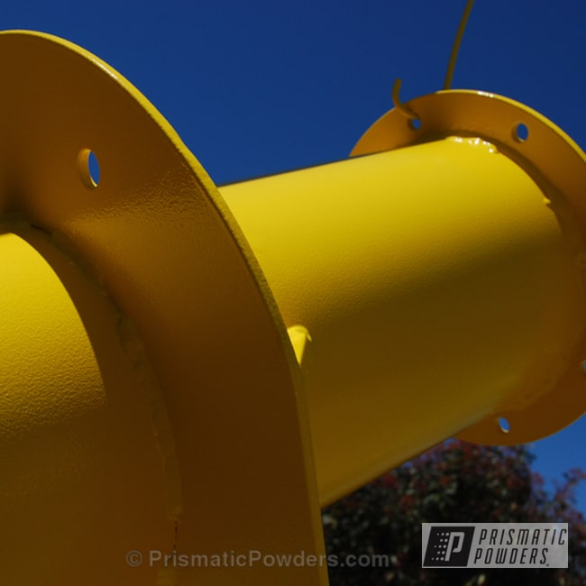 Commercial Pipe Coated In  Our Canary Yellow Powder Coat