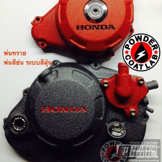 Powder Coating: Engine Components,Powder Coated HONDA SONIC125 Engine Cases,Motorcycles,Desert Red Wrinkle PWS-2762,Desert Charcoal Wrinkle PWB-2767