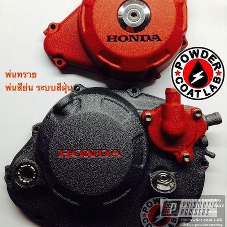 Powder Coating: Engine Components,Powder Coated HONDA SONIC125 Engine Cases,Motorcycles,Desert Red Wrinkle PWS-2762,Desert Charcoal Wrinkle PWB-2767