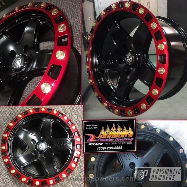 Powder Coating: Wheels,Illusion Copper PMS-4622,Automotive,1 Piece Wheel,Custom Wheels,SATIN BLACK METALLIC PMB-1192,Custom 2 Coats,Jeep,Soft Red Candy PPS-2888,Two Tone Three Stage