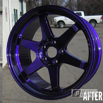 Before And After Photo Pf This Refinished Rim Using Illusion Purple And Clear Vision