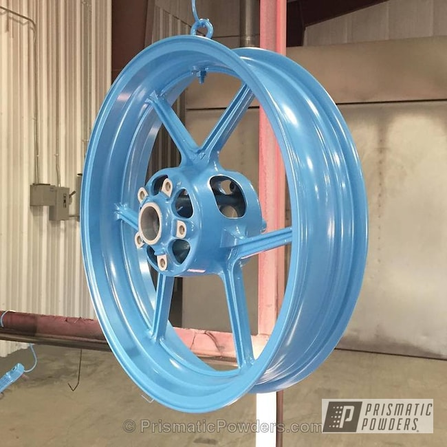 Motorcycle Wheels In Baby Blue Sparkle