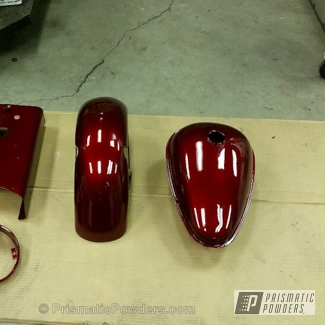 Powder Coating: Clear Vision PPS-2974,Illusion Cherry PMB-6905,Motorcycles,1959 Cushman Super Eagle Resto