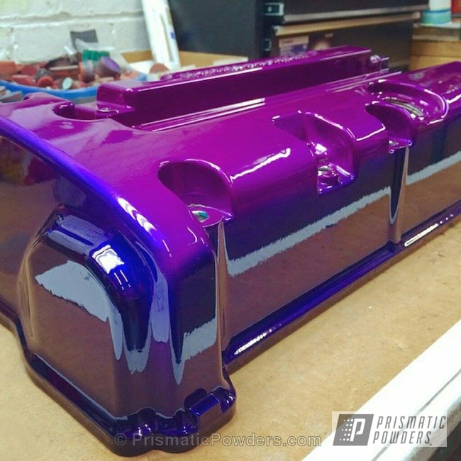 Powder Coating: Automotive,Clear Vision PPS-2974,Powder Coated Manifold,Illusion Blue PSS-4513,Illusion Violet PSS-4514