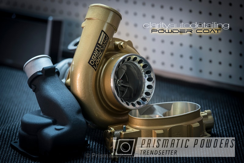 Turbo Housing Coated In A Black Satin Texture And Prismatic Gold
