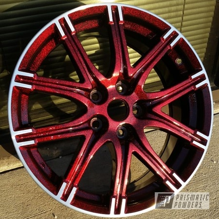 Powder Coating: Wheels,Clear Vision PPS-2974,Ink Black PSS-0106,Powder Coated Wheel,Super Red Sparkle PPB-4694