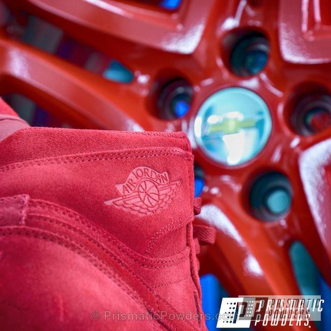 Powder Coating: Wheels,Red Wheel PSS-2694,Air Jordan,Custom Wheel,Nike Air,Chevy Wheel,Nike,Suede