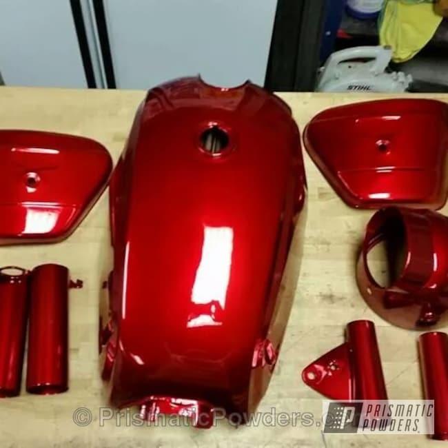 Powder Coating: SUPER CHROME USS-4482,chrome,motorcycle,Honda CB 450 Build with Powder Coating,Motorcycles,Deep Red PPS-4491