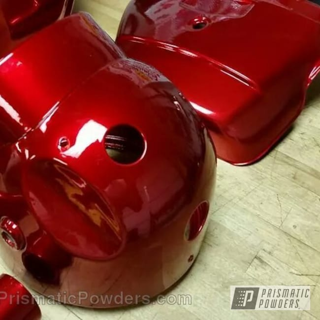 Powder Coating: SUPER CHROME USS-4482,chrome,Honda CB 450 Build with Powder Coating,Motorcycles,Deep Red PPS-4491